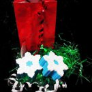 2 Pcs Christmas Holiday Snow Flakes Soap- Natural glycerin gift. With Gift Bag.