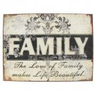 FAMILY WALL DECOR TIN 12.5X9.5