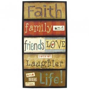 FAMILY FAITH FRIENDS WOOD PLAQUE 10in. x 20in. WALL DECOR