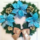 Christmas Wreath, Door Wreath, Turquoise Wreath