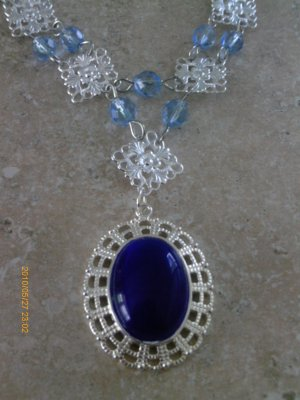 VICTORIAN GOTH GYPSY ROMANTIC SILVER, BLUE CATS EYE & GLASS BEAD NECKLACE, OOAK
