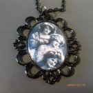 ROMANTIC VICTORIAN VINTAGE RETRO B&W SISTERS FRIENDS BFF CAMEO NECKLACE IN BLACK