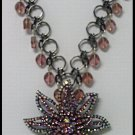 SPARKLY VICTORIAN VINTAGE-STYLE LRG PINK LAVENDER RHINESTONE NECKLACE wEARRINGS
