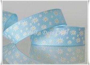 "1 Yard of 5/8"" Daisy Flower Grosgrain Ribbon, Baby Blue, Spring/ Flower, Scrapbooks, Hair Bows, R87"