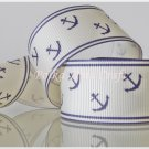 1 Yard of Anchor Grosgrain Ribbon, Blue, Sailor, Navy, Patriotic, R55
