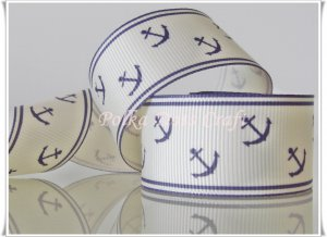 1 Yard of Anchor Grosgrain Ribbon, Blue, Sailor, Navy, Patriotic, R55