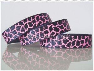 "1 Yard ""Black & Hot Pink Giraffe"" Grosgrain Ribbon, Zoo, Jungle, Wild Animal, Gift, R62"