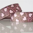 """1 Yard of 1"""" Heart Grosgrain Ribbon, Brown, Bridal, Wedding Gift Mother's Day Valentine's, R99"""