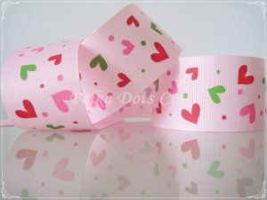 """1 Yard 1-1/2"""" Heart Grosgrain Ribbon, Valentine's, Mother's Day, Pink, Hair Bows, Head Bands, R98"""