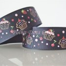 1 Yard of Strawberry Cupcake Grosgrain Ribbons Dessert Cherry Black Hair Bows, Birthday Party, R72