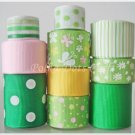 20 Yard Ribbon Lot, Apple Green w/ Pink, White, Yellow Butterfly, Daisy, Flower, Dots, S9