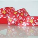 "1 Yard of 1"" Butterfly Ribbon, Red, Spring, Garden, Flower, Headbands, Scrapbooks, R83"