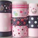 "20 Yard ""Tea Time"" Ribbons, Cupcake, Strawberry, Cherry, Lollipop, Desserts, Sweets, S8"