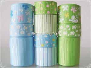 20 Yd Ribbon, Butterfly, Daisy, Stripes, Dots, Apple Green & Baby Blue S21