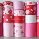 "20 Yards ""Kiss the Lips"" Ribbons, Valentine's, Mother's, Love, Heart, Pink, S22"