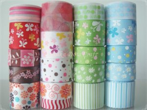 """20 Yard """"Garden"""" Ribbon, Butterfly, Daisy, Flower, Floral, Spring, Hair Bow, Pony Tails, S14"""