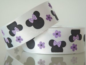 "1 Yard of Minnie Mouse Satin Ribbon, 7/8"" (22mm), Flower, Lavendar, R191"