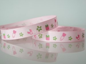 """1 Yard Baby Bottles Safety Pin Pacifiers Ribbon, 3/8"""" Shower Baptism It's A Girl Pearl Pink, R174"""