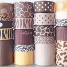 "20 Yards ""Jungle-Brown & Gold"" Ribbon Lot-Zebra, Leopard, Zoo, Animal,Scrapbook, Hair Bands, S10"