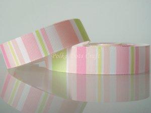 "1 Yard of 3/4"" Pink Green Yellow & White Stripes Ribbon, Baby, Photo Album, Scrapbooks,  R222"