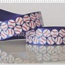 "1 Yard of 5/8"" Baseball Ribbon, Red & Blue, Sports, Craft, Gift Wrap, R105"