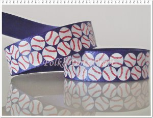 "1 Yard of 5/8"" Baseball Ribbon, Red & Blue, Sports, Craft, Gift Wrap, R105"