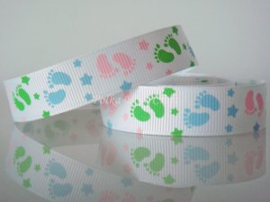 "1 Yard of 5/8"" Baby Footprint Ribbon, Baby Shower, Baptism, Party, White, Pink, Green, Blue, R170"