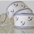 "1 Yard of 1"" Anchor Grosgrain Ribbon, Blue, Sailor, Navy, Patriotic, R55"