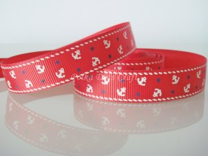 "1 Yard of 5/8"" Anchor Grosgrain Ribbon, Red, Sailor, Navy, Patriotic, R169"