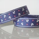 "1 Yard of 5/8"" Anchor Grosgrain Ribbon, Blue, Sailor, Navy, Patriotic, R168"