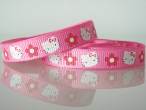 "1 Yard 3/8"" Hello Kitty Ribbon, Pink, Girl, Party Favors, Gift Wrap, Scrapbooks, Hair Bows, R192"