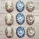9 pcs Oval Resin Roses Beauty Lady Heads Acrylic Cameo Cabochons Vintage Charms, Resin8/9/10