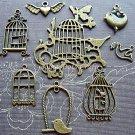 8 pcs Antique Charms Vintage Bronze Birds Cages Angel Heart Peace Dove Pendant Dangles, BC-S1