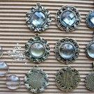 9 pc Antique Vintage Cameos Cabochons Settings Charms Rhinestones Pendant Dangles Jewel, B-S1