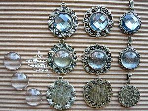 9 pc Antique Vintage Cameos Cabochons Settings Charms Rhinestones Pendant Dangles Jewel, B-S1