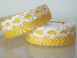 "1 Roll of 7/8"" Yellow Lace Ribbon Tape Scrapbook Craft Home Decoration Fabric Trim, R166"