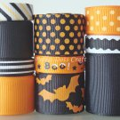 20 Yds Halloween Ribbons Spooky Boo Bats Black Scrapbooks Hair Bows Party Trick or Treats, S27