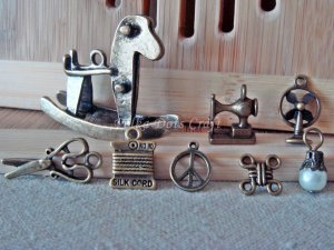 8 Antique Charms -Vintage Rocking Pony Fans Scissors Peace Cord Sewing Machine, O-S3
