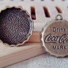 6 pcs Antique Coke Cap Charms, Vintage Necklace Pendants Coca Cola Bronze, O12