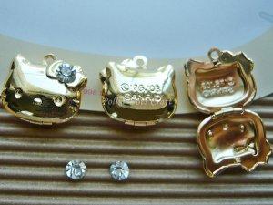 3 pcs Antique Hello Kitty Photo Locket Charms Gold, Rhinestones, Necklace, Pendants Vintage, PL4