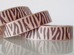 "1 Yard 5/8"" (16mm) Zebra Ribbon, Brown & Tan, Wild Animal, Zoo, Party, Jungle, R64"