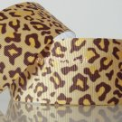 "1 Yard ""Brown Gold Leopard"" Grosgrain Ribbon, Zoo, Jungle Safari, Wild Animal, Cat, R59"
