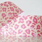 "1 Yard ""Pink Leopard"" Grosgrain Ribbon, Zoo, Jungle Safari, Wild Animal, Cat, R60"