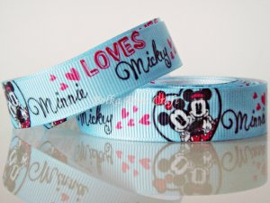 "1 Yard of 5/8"" Disney Mickey & Minnie Mouse Grosgrain Ribbon, Blue, Hair Bows, Scrapbooks, R247"