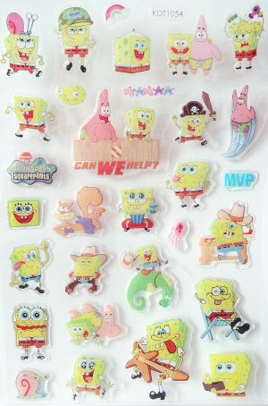6 Sheets of Sponge Bob Puffy Stickers, Kids Birthday Party Goody Bags, Favors, Scrapbooks