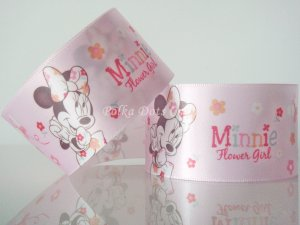 "1 Yard of 1-1/2"" Disney Minnie Mouse & Flowers Satin Ribbon, Pink, Hair Bows, Scrapbooks, R249"