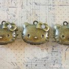 3 pcs Antique Hello Kitty Photo Locket Charms Rhinestones, Necklace, Pendants Vintage Gifts, PL3