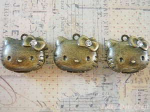 3 pcs Antique Hello Kitty Photo Locket Charms Rhinestones, Necklace, Pendants Vintage Gifts, PL3