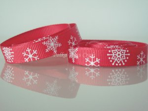 "1 Yard of 3/8"" Christmas Snowflakes Ribbon, Red, Holidays, Hair Bows, Scrapbooks, R68"