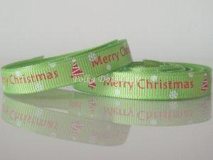 "1 Yard of 3/8"" Merry Christmas Ribbon, Green, Holidays, Hair Bows, Scrapbooks, R69"